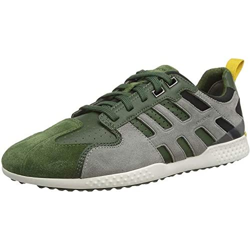 Geox U Snake.2 A, Sneakers Base Uomo, Verde (Dk Green/Lt Grey C3287), 39 EU