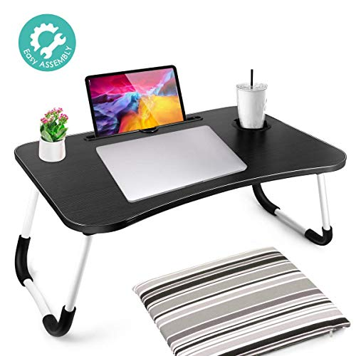 Foldable Laptop Table, Portable Laptop Bed Tray Table Folding Dormitory Table Notebook Stand Reading Holder Breakfast Serving Bed Tray with Tablet Slots & Cup Holder for Bed/Couch/Sofa-Black