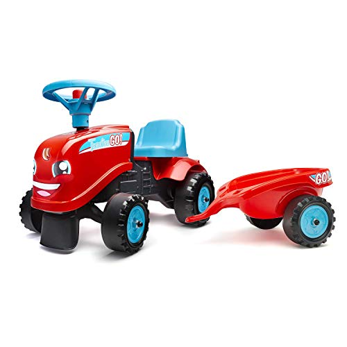 FALK - Porteur Tractor Go! avec remorque - Dès 12 mois - Fabriqué en France - 2 styles de personnalisation - Plaque d'immatriculation personnalisable - 200B