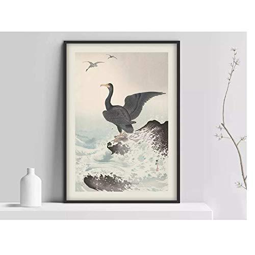 SWXXLY póster Póster japonés, Impresión de pájaro japon