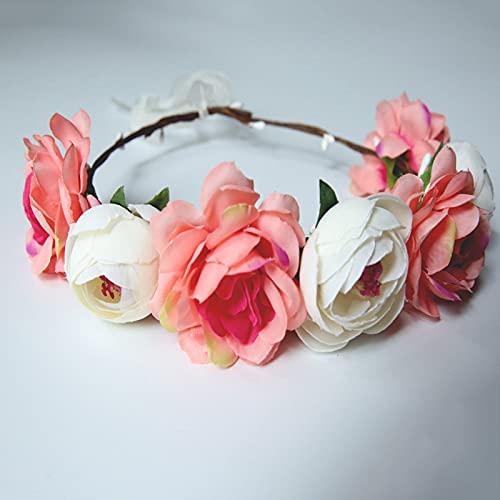 XIHUANNI Hermosa diadema de flores para mujer, exquisita corona de pelo, corona floral para fiesta de guirnaldas