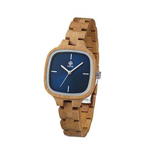 ZEITHOLZ - Orologio da donna di legno, modello Rosswein - Cassa e cinturino di bambù - Beige e blu - Leggero, orologio robusto ed elegante - Cinturino regolabile