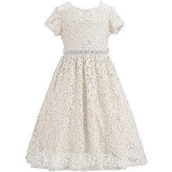 Ivory Lace Flower Girl Sequins Short Dress
