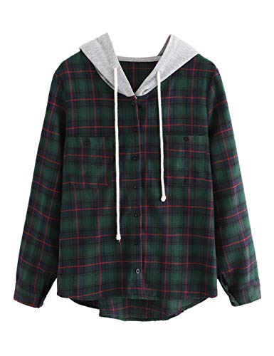 SweatyRocks Women's Casual Plaid Hoodie Shirt Long Sleeve Button-up Blouse Tops (Large, Green#2)