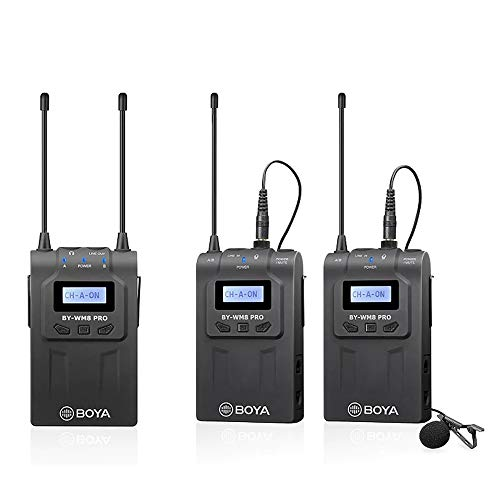 Boya by-WM8 Pro-K2 UHF - Micrófono inalámbrico de Doble Canal con Receptor y transmisor