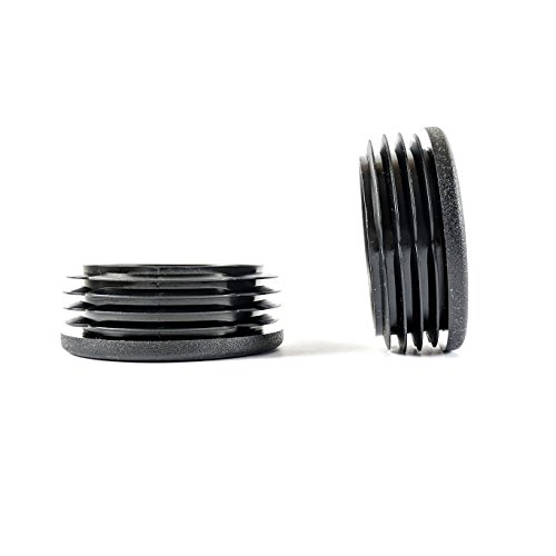 Lot de 4 bouchons ronds nervurés en plastique noir de 60 mm de diamètre fabriqués en Allemagne (voir la deuxième image pour les dimensions).