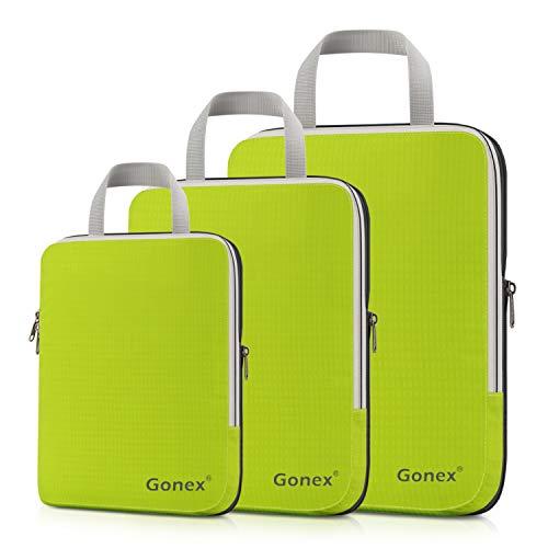 Compression Packing Cubes 3er Set, Gonex Kleidertaschen Verschiedene Forme,3-teilig Verpackungswürfel, Kleidertaschen Set, Kofferorganizer Reise Würfel