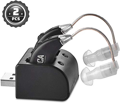 Digital Hearing Amplifiers - Rechargeable Premium BTE Personal Sound Amplifier Pair with USB Dock, Behind The Ear Hearing Enhancement Devices with Long Lasting Battery Life, Black