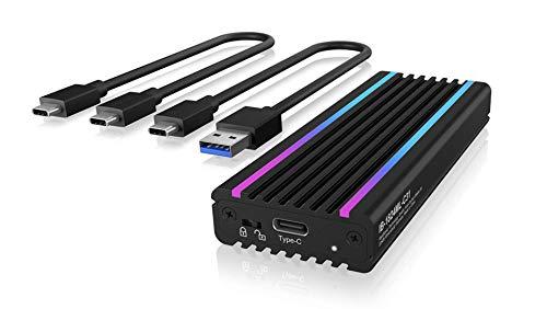 ICY BOX M.2 NVMe Gehäuse mit USB 3.1 Gen2, RGB LED Beleuchtung, Kühlsystem, USB-C, USB-A, PCIe M-Key SSD, Aluminium, Schwarz