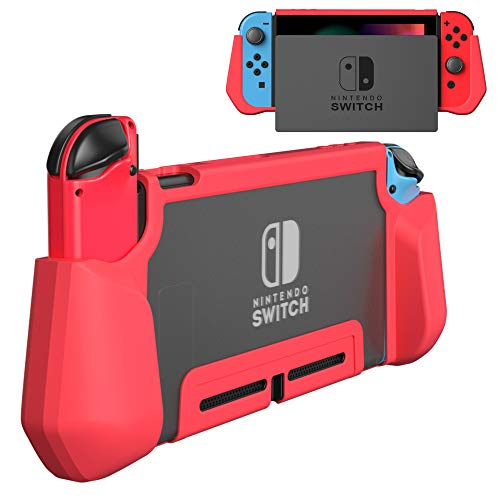 PZOZ Dockable Case for Nintendo Switch, Ergonomic TPU Grip and PC Protective Cover Shell Ultra-Thin Case Skin Compatible with Nintendo Switch Console and Joy-Con Controller (Red)