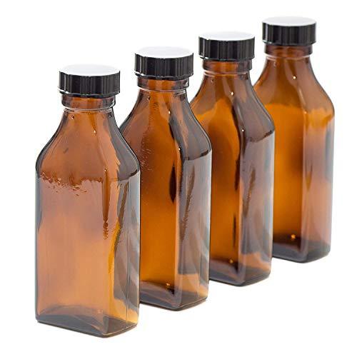 100 ml rectangulaire Ambre Bouteille en verre avec couvercle Noir – Lot de 4
