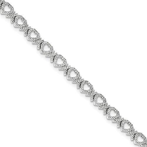 Jewels By Lux 14K Oro Bianco Diamante Cuori Bracciale, Diamante Cttw 1.029