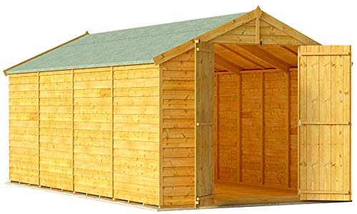 BillyOh Keeper Overlap Garden Shed with Floor | Wooden Garden Storage Shed with Apex Roof & Felt Included | Windowed or Windowless- Multiple Sizes (16x8 Windowless)