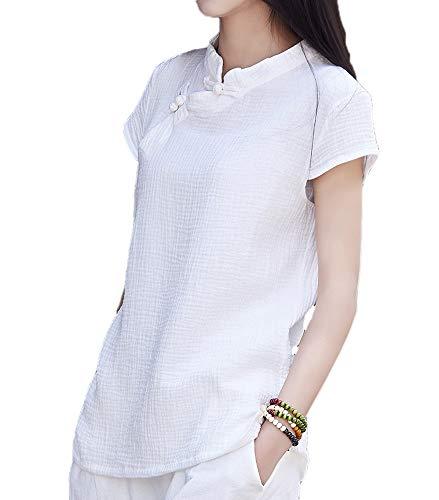 Camiseta de Manga Corta de Lino para Mujer Blusa con Botones Estilo Chino de Rana