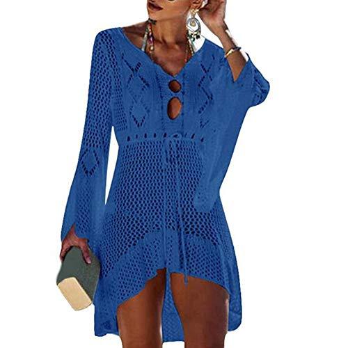 Vestido de Las señoras de Playa Bikini Cover Up Beach Bikini de Ganchillo Vestido Tejer Verano encubrimientos Playa del Poncho de Verano Traje de baño de Playa,Azul