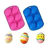 Stampo in silicone a forma di uovo di Pasqua, stampo in silicone per uova di Pasqua in silicone, stampo in silicone, stampo da forno per fare bomba al cioccolato caldo, torta, 2 pezzi