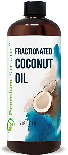 Fractionated Coconut Oil Massage Oil - Cold Pressed Pure MCT Oil Carrier Oil for Essential Oils Mixing Dry Skin Moisturizer Natural Carrier Baby Oil for Face Hair & Body Therapeutic Aromatherapy 16 oz