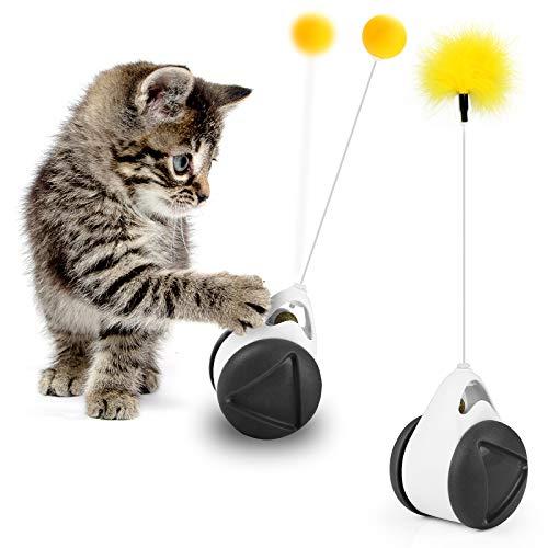 AVNICUD Interaktives Katzen Spielsachen,Katzenminze, Intelligenzspielzeug für Katzen, Spielzeug für Katzen Mit Federn Und Bällen Tumbler 360° Drehbarem, Verbessern Sie sportlichen Fähigkeiten Katze
