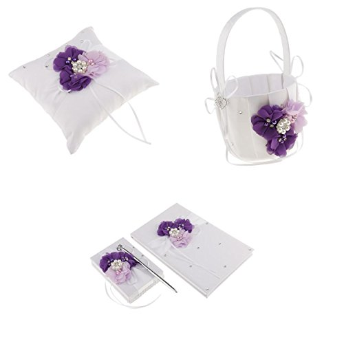 Homyl Rustic Ring Pillow Flower Basket Guest Book and Pen Set for Wedding Prom Purple