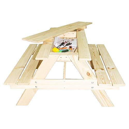 RM E-Commerce Picknicktisch für Kinder mit Geheimfach, Gartentisch Nadelholz unbehandelt, Outdoor Garten Sitzgarnitur für 4 Kinder, 90x85x46cm