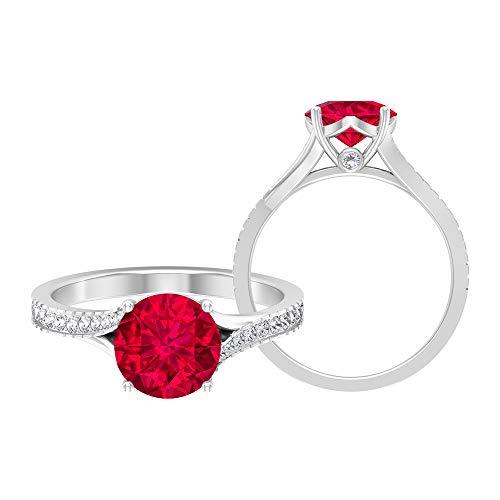 Anillo de compromiso solitario, piedras preciosas redondas de 2,37 quilates, turmalina D-VSSI 8 mm, anillo catedral, joyería de oro macizo, 14K White Gold, Pink Tourmaline, Size:US 61