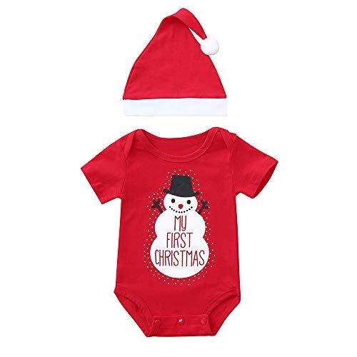 Noël Combinaison À Manches Longues Bébé Garçons Filles Barboteuse Lettre Santa Claus Elk Imprimé Bodys De Mode Mignon Casual Fête Tenues Vêtements Automne (Rouge 3, 0-6 Mois)