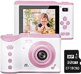 WLHER Set de Cámara de Fotos Digital para Niños, Pantalla de 2.8 Pulgadas, Lente Dual HD de 8MP / 1080P, Funda de Silicona antichoque, para Niños Niñas Regalos de cumpleaños,Rosado