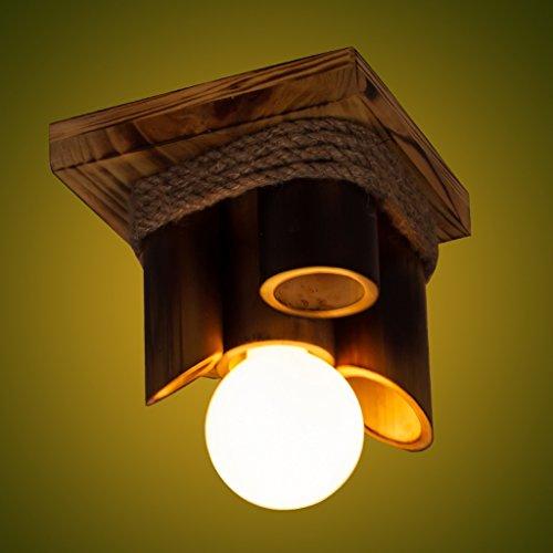 Ywyun Tissu de corde en bambou en bois rustique américain, rustique, simple, personnalité, créatif, couloir, balcon, couloir, suspendu, lumières