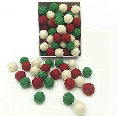 Christmas Felt Balls Red Green White 80pc 2cm DIY Felted Pom Pom Garland Wool Balls