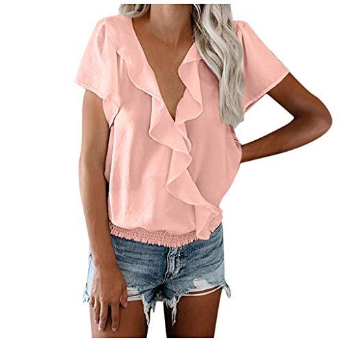 PKTOP Blusa de Gasa Suelta Casual con Cuello en V Plisado y Mangas Cortas para Mujer Rosa Rosa L