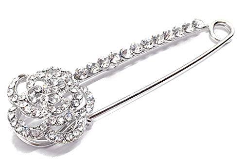 Brosche Anstecknadel Schalnadel mit Strass 8cm Blume Silber
