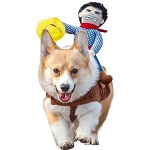 PAWACA pour Animal Domestique Costume Cowboy Rider Costume pour Chien pour Grand Chien Petit Chien Tenue, Dress Up Décoration