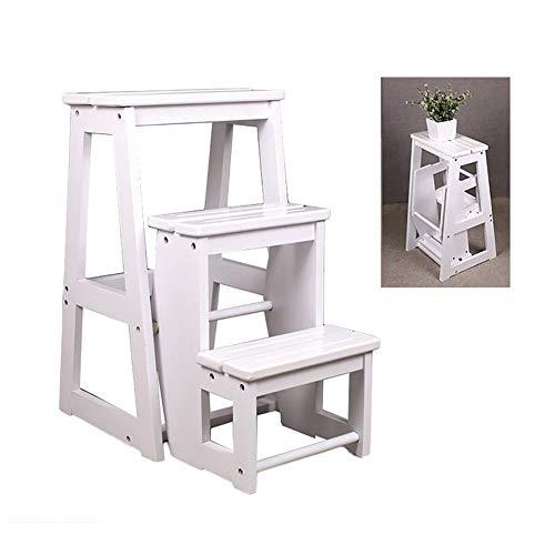 Leiter Hocker ZAY-Folding Steps Dual Use klaptrapladder met antislipmat, 3-traps huishoudladder van massief hout, indoor trappenstoel (kleur: wit, maat: 28×56,5×64cm)