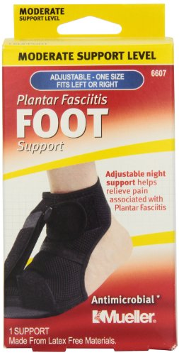 Mueller Sports Medicine Adjustable Plantar Fasciitis Foot Night Support, Black, Women's Size 6-13, Men's Size 5-12