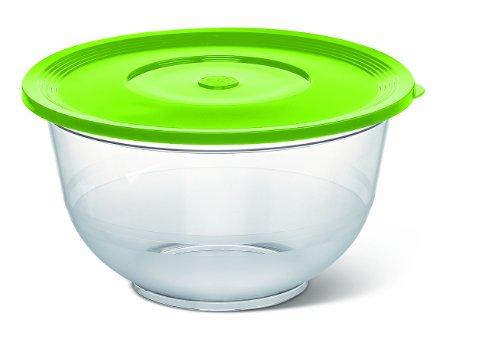 Emsa 514562 Salatschale mit Deckel, Glasklarer Kunststoff, 2 Liter, Ø 22 cm, Transparent/Grün, Superline