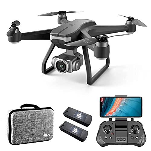 Droni GPS con gimbal anti-vibrazione, trasmissione FPV WiFi drone professionale 5G, mini quadricottero FPV con motore brushless, resistenza al vento di livello 8, tempo di volo 60 minuti, con 2 b
