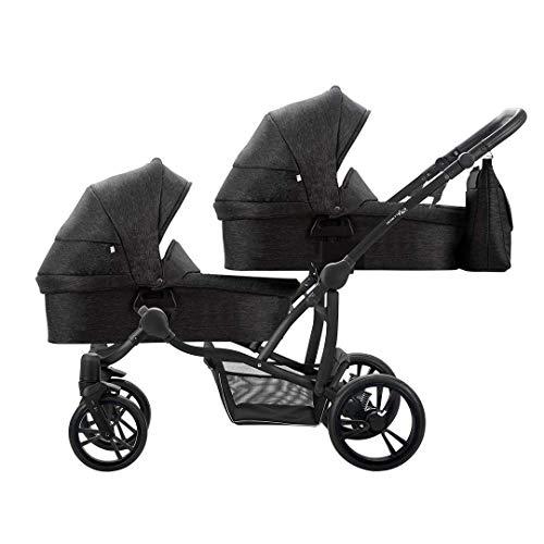 Bebetto Bebetto42 Simple Twin Zwillingskinderwagen & Geschwisterwagen Tandem KombiKinderwagen Duo Babywagen Buggy Kinderwagen System + Getränkehalter + Mückenschutz (Schwarz Schwarz 04, 3in1)