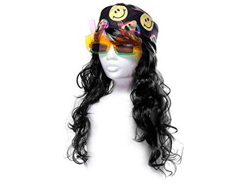 Alsino Déguisement Look Hippie (KV-82) Ensemble de 3 Accessoires: Perruque Longue Cheveux, Lunettes Peace et Bandana Multicolore Peace and Love De qualité supérieure Ambiance Unisex Homme Femme