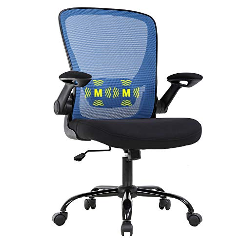 Home Office Chair Ergonomic Desk Chair Mesh Computer Chair Swivel Rolling Task Chair with Lumbar Support Flip-up Arms MassageAdjustable Chair for Adults(Blue)
