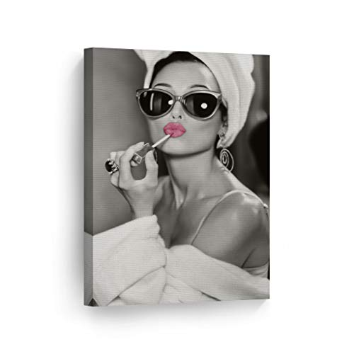 Audrey Hepburn Wall Art Makeup Pink Lipstick CANVAS PRINT Iconic Pop Art Pretty Beauty Black and White Home Decor Artwork Gallery Stretched and Ready to Hang - %100 Handmade in the USA - 36x24