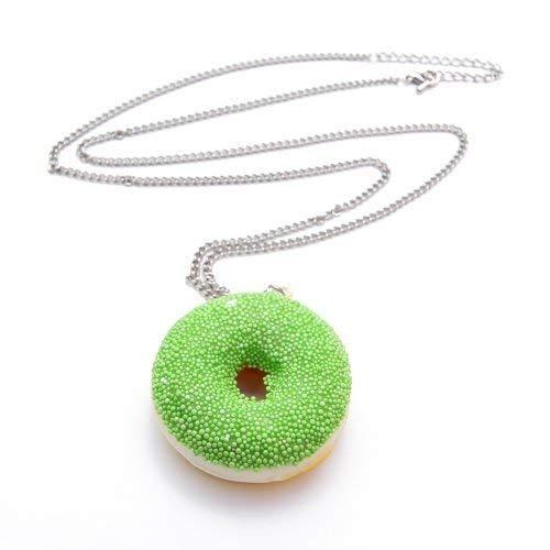 WeAreAwesome Donut mit Zuckerguss Glasur Halskette - ca. 70cm Lange Kette - Doughnut Anhänger, Farbe:Kette Grün Perlen