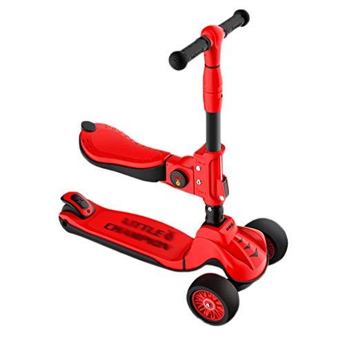 Dzwyc Scooter Siéntese y Stand Scooter para niños Diddler patear Scooter con Plegable, Altura Ajustable, iluminar 3 Ruedas para Mayores de 3 a 12 niños Patinetes (Color : Red)