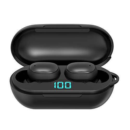 True Wireless Earbuds, Bluetooth 5.0 Earbuds 40Hrs Cycle Playtime with Charging Case, Mini in Ear HiFi Stereo Waterproof IPX7 Sport Running Bluetooth Headphones Built-in Mic for Sport/Gym/Work