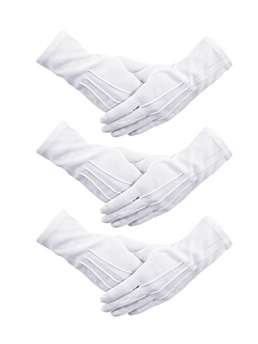 Senkary 3 Pairs White Nylon Cotton Gloves Band Costume Formal Dress Parade Inspection Gloves for Men Women