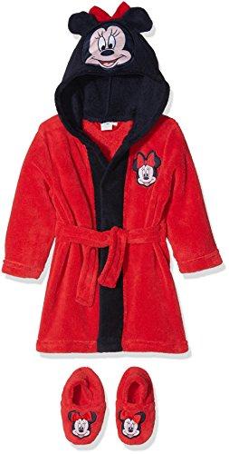 Disney Minnie Maus, Baby-Mädchen Bademantel mit Kapuze und passenden Hausschuhen, Rot, 80
