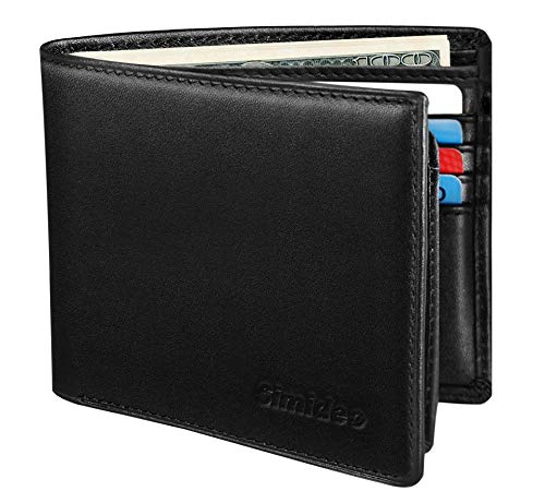 male wallets Simideo Men's Wallet TOP Genuine Leather RFID Wallet Bifold Trifold Slim Wallet with 2 ID Windows