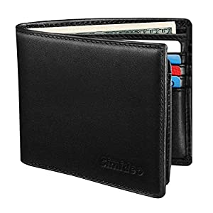 Simideo Men's Wallet TOP Genuine Leather RFID Wallet Bifold Trifold Slim Wallet with 2 ID Windows