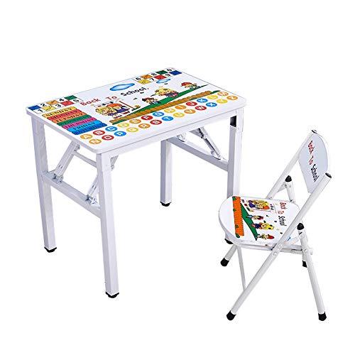 ZH Escritorio y Silla Plegables para niños, Mesa de Cartas de Aprendizaje para Infantil, Juegos de Mesa y sillas, Estable Antideslizante, Adecuado para niños y niñas