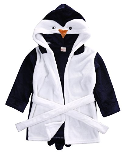 CHRONSTYLE Baby Bademantel Mit Kapuze Nachthemd Säuglings Tier Handtuch Ultra-weiches Fleece Pyjamas Kinderdecke (Pinguin, 90)
