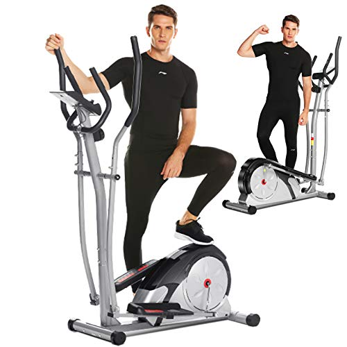 ANCHEER Elliptical Machine for Home Use, Magnetic Elliptical Machines with Pulse Rate Grips and LCD Monitor, Smooth Quiet Driven for Home Gym Office Workout Max Capacity Weight 350LBS